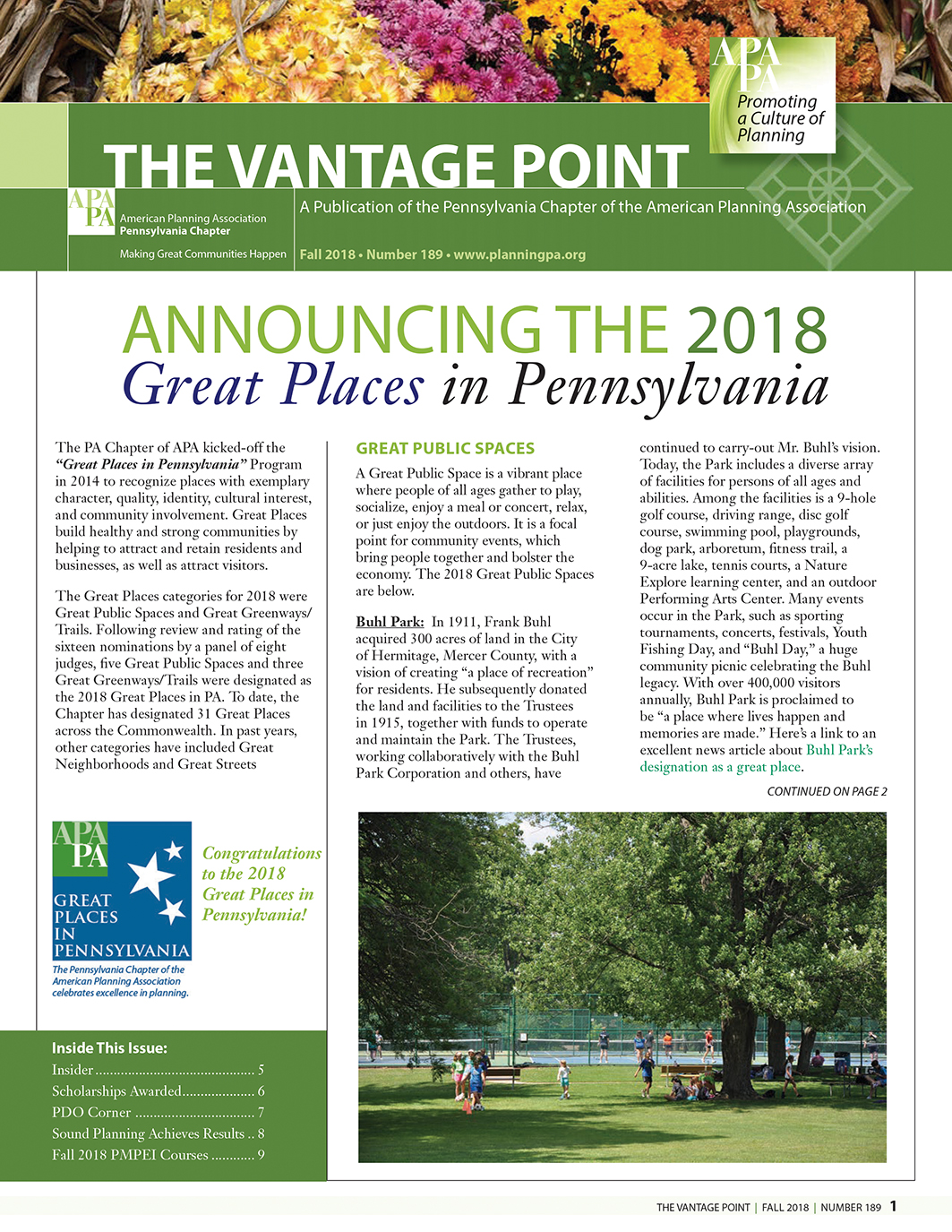 Fall 2018 Vantage Point - APA - Pennsylvania Chapter