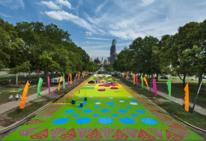 "Magic Carpet, a magical environment of color, pattern, illusion and movement by artist Candy Coated Commissioned by the Association for Public Art for The Oval, a partnership of Philadelphia Parks & Recreation and Fairmount Park Conservancy at The Oval (Eakins Oval, Philadelphia's ""Park on the Parkway""."